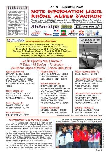NOTE INFORMATION LIGUE RHÔNE ALPES d'AVIRON