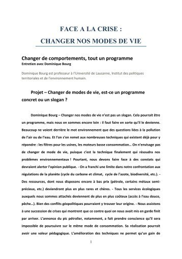 Face à la crise changer nos modes de - Ensemble pour l'Europe