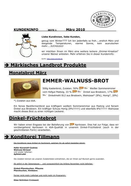 EMMER-WALNUSS-BROT - Märkisches Landbrot
