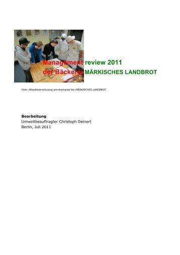 Management review 2011 - Märkisches Landbrot