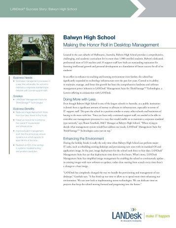 Download the Balwyn High School story (English) - LANDesk