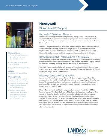 Download the Honeywell EMEA story (English) - LANDesk
