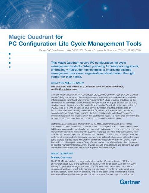 Magic Quadrant for PC Configuration Life Cycle ... - LANDesk