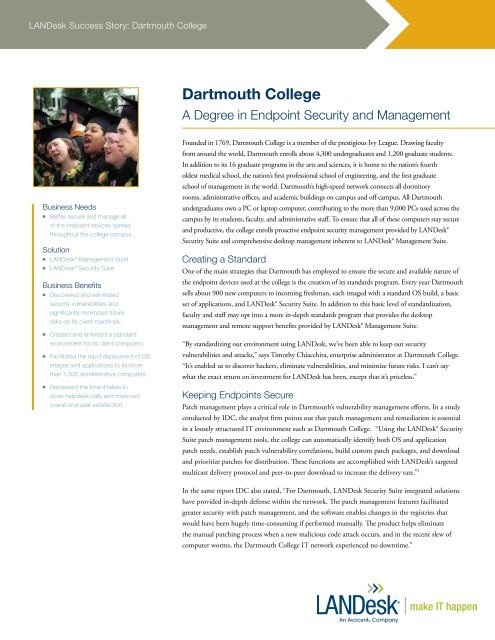 Download the Dartmouth College story (English) - LANDesk