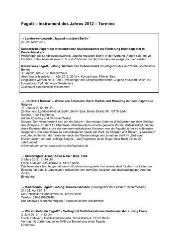 Fagott – Instrument des Jahres 2012 - Landesmusikrat Berlin e.V.