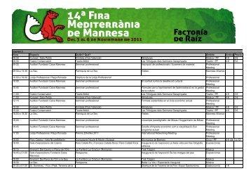 Graella Fira 2011 cast - Fira Mediterrània de Manresa