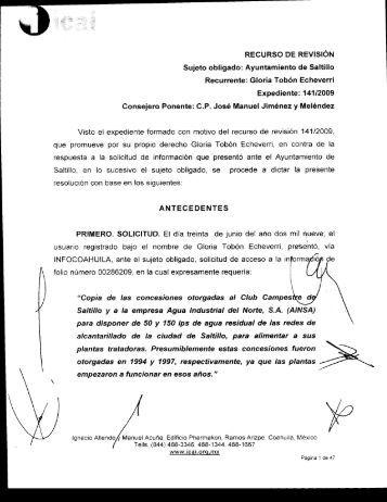 RECURSO DE REVISIÓN Sujeto obligado: Ayuntamiento de Saltillo ...