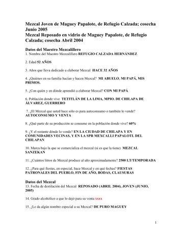 Refugio Calzada - Mezcales Tradicionales
