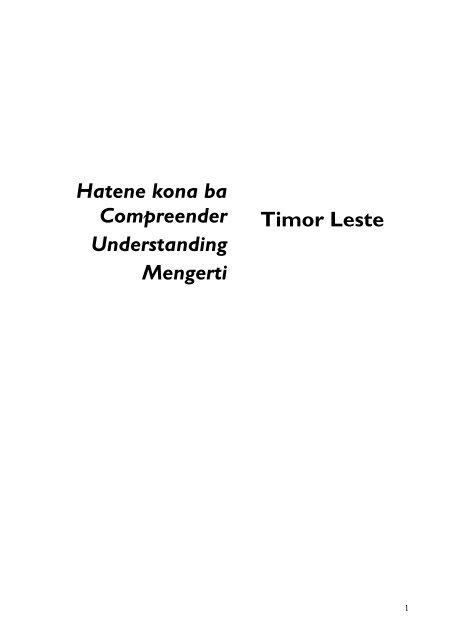 Hatene kona ba Compreender Understanding Mengerti Timor Leste