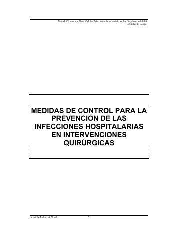 Medidas de control para la prevención de infecciones hospitalarias ...