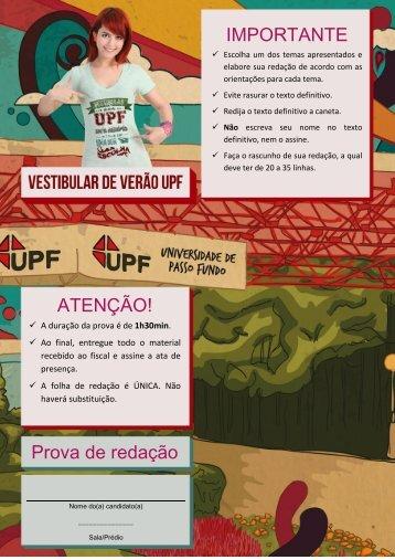 IMPORTANTE ATENÇÃO! Prova de redação - Vestibular UPF