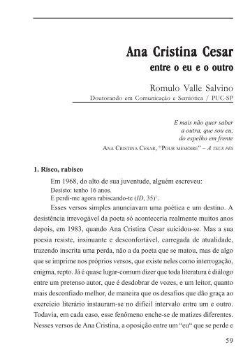 Ana Cristina César: entre o eu e o outro - Grupo de Estudos em ...