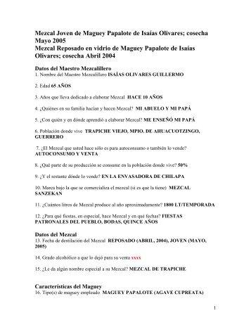Isaías Olivares - Mezcales Tradicionales