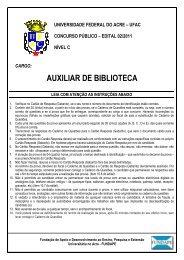 NÍVEL C - AUXILIAR DE BIBLIOTECA - Universidade Federal do Acre