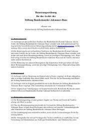 Benutzungsordnung für das Archiv der Stiftung Bundeskanzler ...