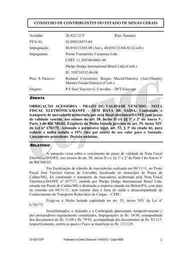 20422 - Secretaria de Estado de Fazenda de Minas Gerais