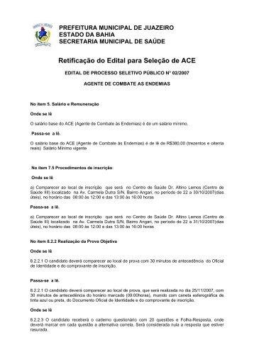 Edital Retificado - Prefeitura Municipal de Juazeiro