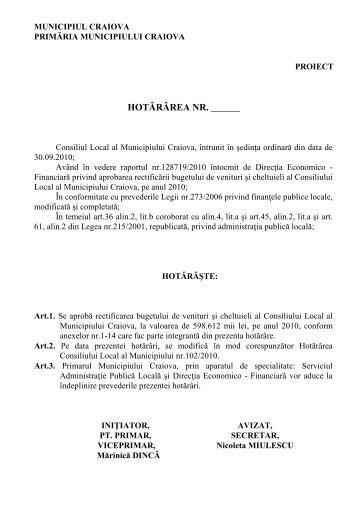 Proiect de hotărâre privind rectificarea bugetului ... - Primaria Craiova