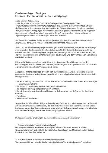 Leitlinien zur Heimatpflege im Landkreis Göttingen