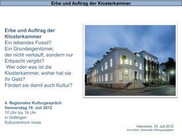 Erbe und Auftrag der Klosterkammer Ein lebendes Fossil? Ein ...