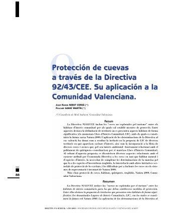 Proteccin De Cuevas A Travs La Directiva 92 43 CEE Su
