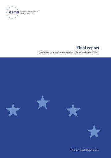 Guidelines on sound remuneration policies under ... - Esma - Europa