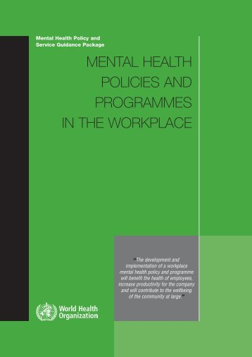 Mental Health Policies and Programs in Workplace - World Health ...
