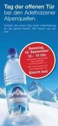Samstag, 18. September 10 – 18 Uhr - Adelholzener Alpenquellen