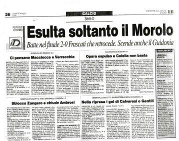 26/05/2008 Poule Scudetto - Semifinali - gare di - serie d news