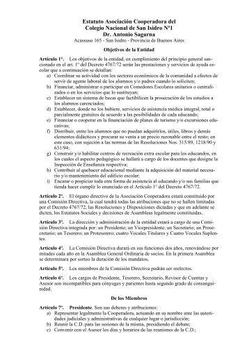 Bajar estatuto (formato .pdf ) - Historia del Colegio Nacional