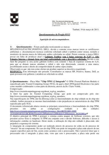Resposta aos Questionamentos - Pregão nº 03/13 - unitau