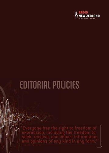 Editorial Policies, May 2007 - Radio New Zealand