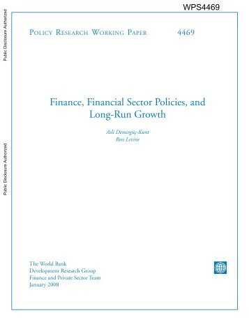 Finance, Financial Sector Policies, and Long-Run Growth - Esaf