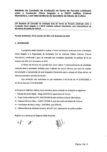 Relatório da Comissão de Avaliação do Termo de Parceria celebrado