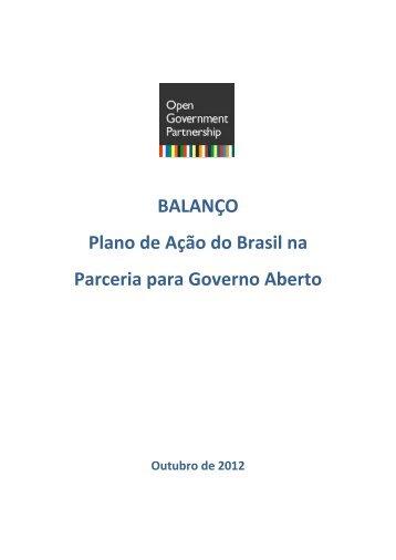 BALANÇO Plano de Ação do Brasil na Parceria para Governo Aberto