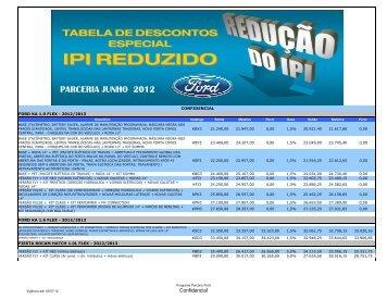 Tabela de Descontos Parceria FORD X CRO-PI (JUNHO/2012)