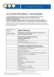 abc markets Einkaufsliste / clearing Budget Beschreibung