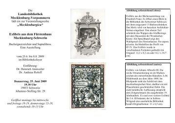 Exlibris aus dem Fürstenhaus Mecklenburg ... - Landesbibliothek
