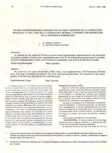 ovario supernumerario.reportede un casoy revision de la literatura ...