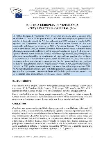 Política Europeia de Vizinhança (PEV) e Parceria Oriental ... - Europa