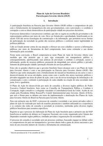 1 Plano de Ação do Governo Brasileiro Parceria para Governo ...
