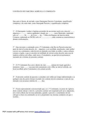 CONTRATO DE PARCERIA AGRÍCOLA E COMODATO Que ... - Paf