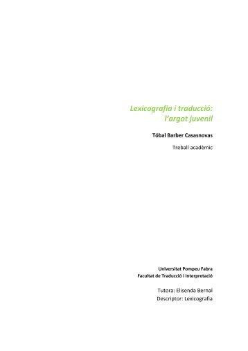 Lexicografia i traducció: l'argot juvenil - Carsten Sinner