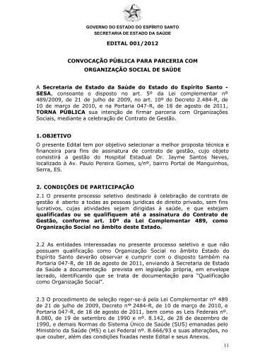 11 EDITAL 001/2012 CONVOCAÇÃO PÚBLICA PARA PARCERIA ...