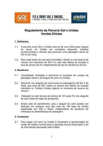 Regulamento da Parceria Gol e Unidas Vendas Diretas