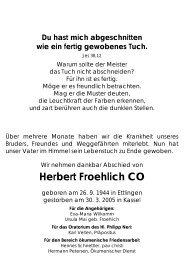 Todesanzeige für Herbert Froehlich - Lebenshaus Schwäbische Alb