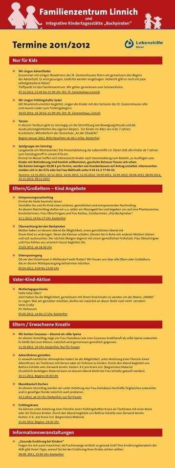 Termine 2011/2012 - bei der Lebenshilfe eV Düren