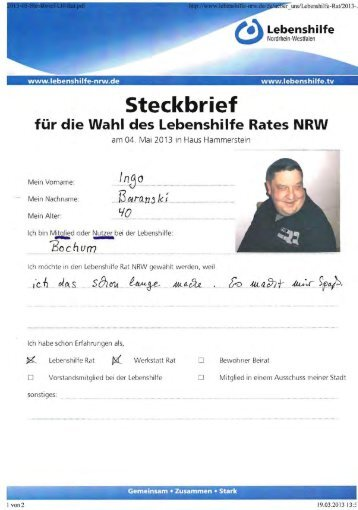 Steckbrief - Lebenshilfe NRW