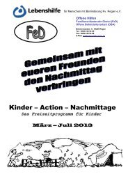 Kinder-Programm April - Mai - Juli 2013 - Lebenshilfe Regen eV