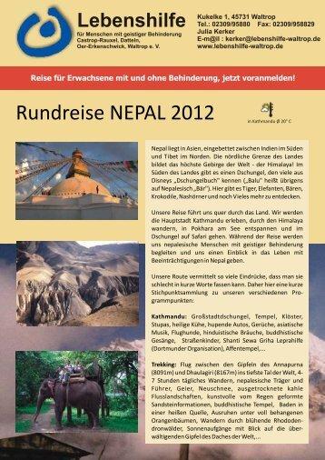 Rundreise NEPAL 2012 - Lebenshilfe Waltrop